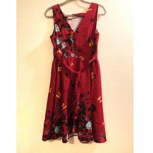 Dresses - Butterfly & flower tied waist tank dress